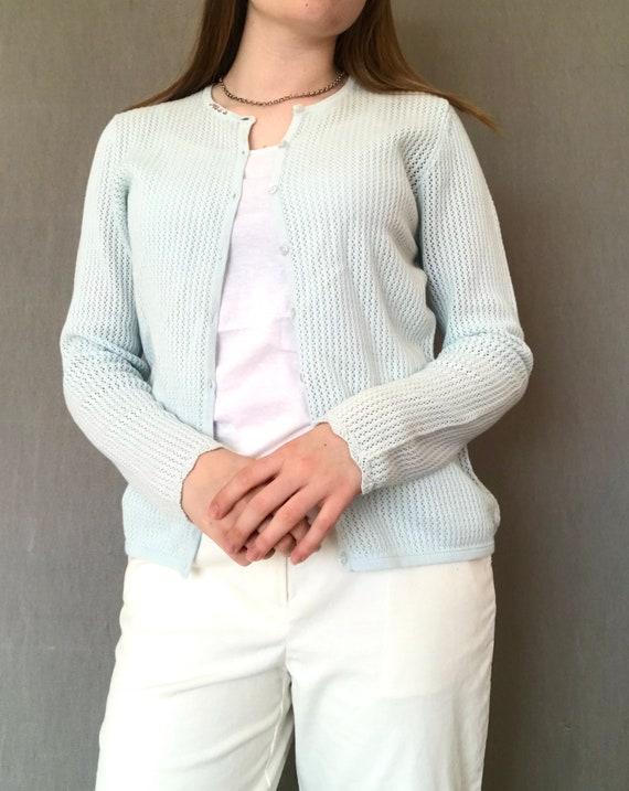 Vintage Crochet Pastel Blue Long Sleeve Size Mediu