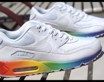 Custom rainbow drippy Nike air max 90 These are weatherproof