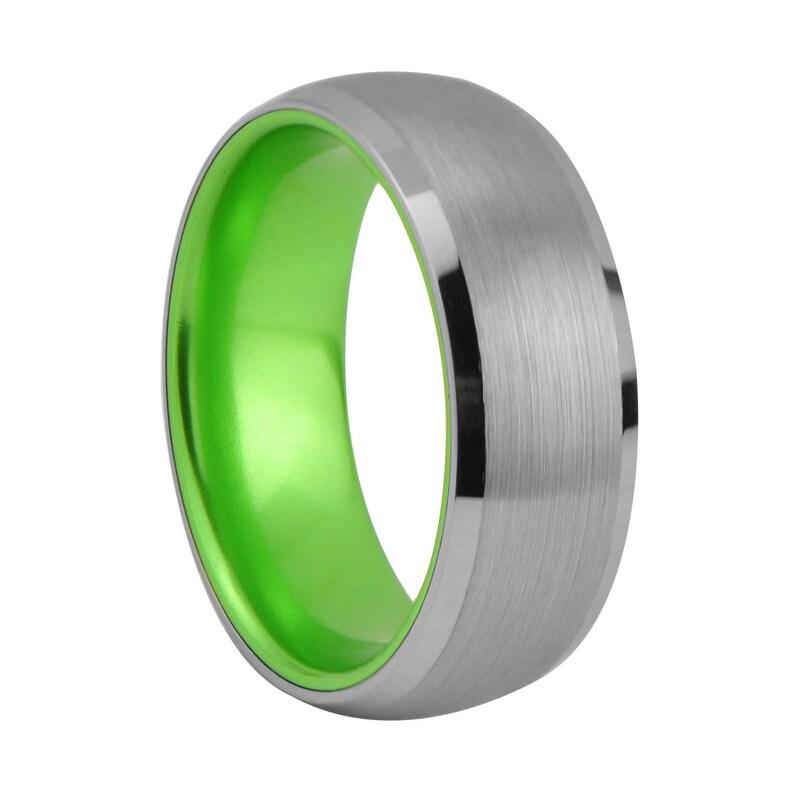 Elliott 8mm Brushed Tungsten Green Enameled Wedding Band Ring