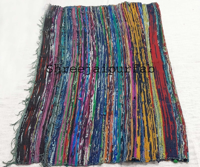 chindi dhurrie recycled porch woven floor carpet Hand braided multi color rug Shreejaipurfab chindi rug vintage rug reversible runner