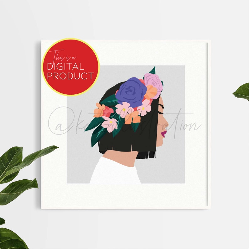 Digital Art Print / Flower Crown Illustration / Instant image 0