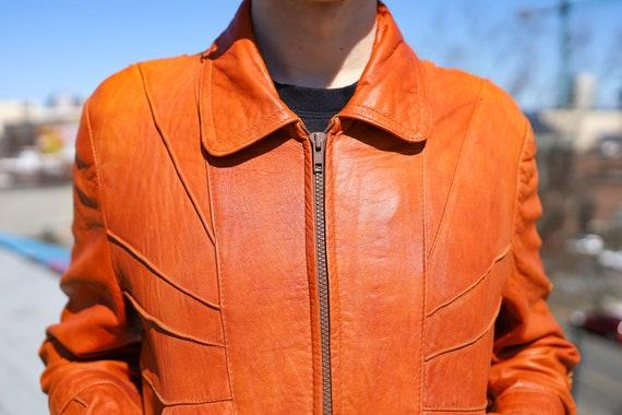 1970s Burnt Orange Leather Men's Sunrise Jacket//… - image 6