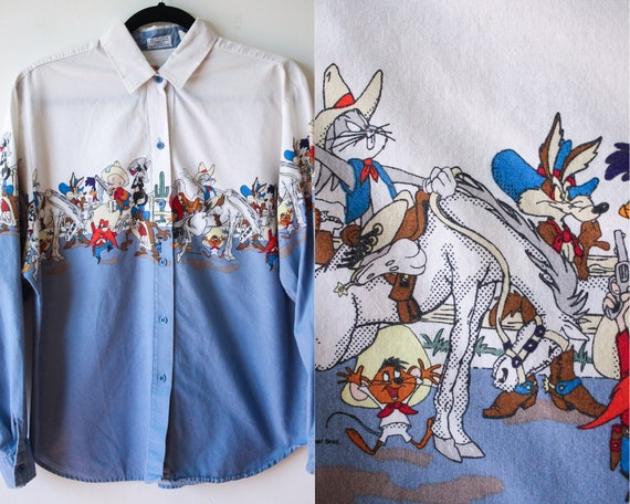 Karman Western Looney Tunes Shirt//Vintage Looney