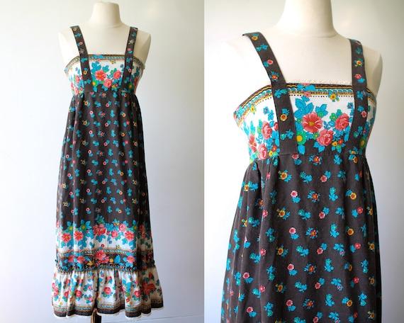 Vintage Prairie Apron Dress//Floral Hippie Dress//