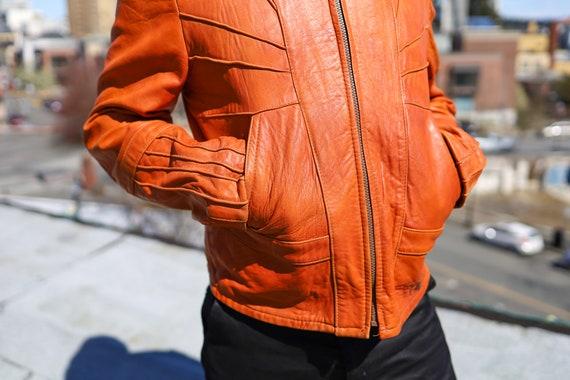 1970s Burnt Orange Leather Men's Sunrise Jacket//… - image 5