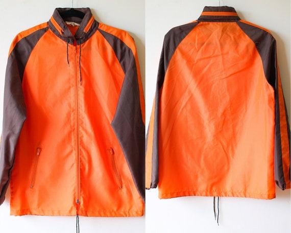 70s Brown and Orange Windbreaker//Vintage Jacket//