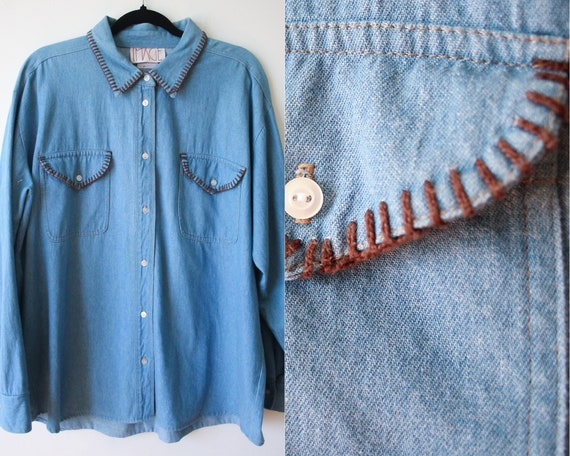 XL Men's Denim Western Shirt//Hand Embroidered//IM