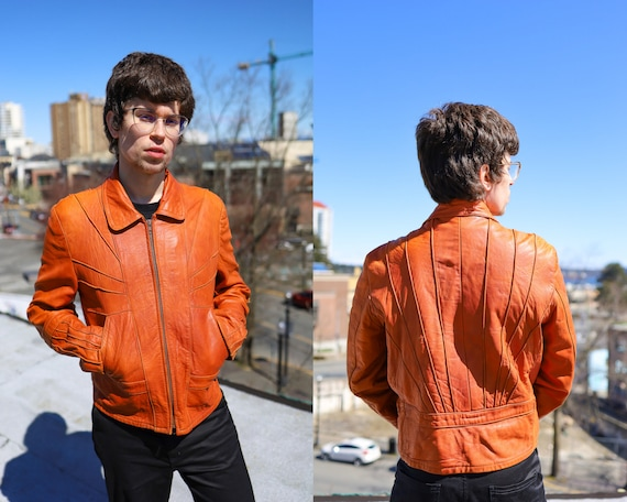 1970s Burnt Orange Leather Men's Sunrise Jacket//… - image 1