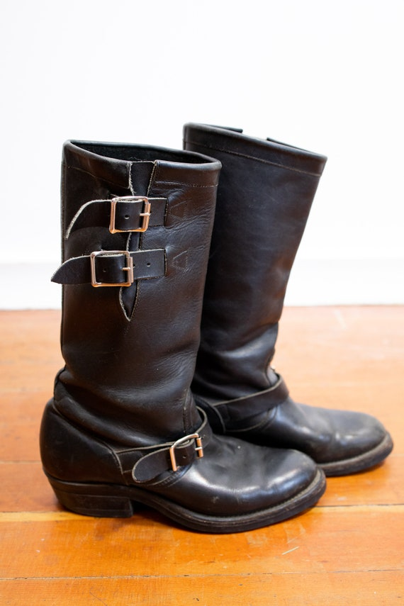 Vintage 80s Women's Leather Biker Boots//Tall Blac