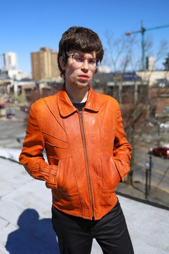 1970s Burnt Orange Leather Men's Sunrise Jacket//… - image 2
