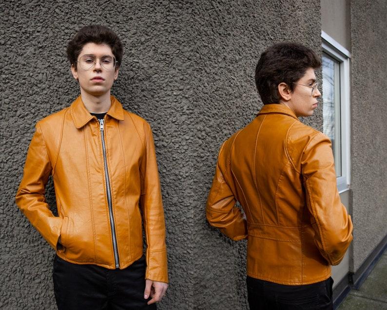 Vintage 1970s Burnt Orange Leather JacketA GOLDEN BOY GARMENTMen/'s CoatLeather Fitted BlazerVarsity70s Preppy