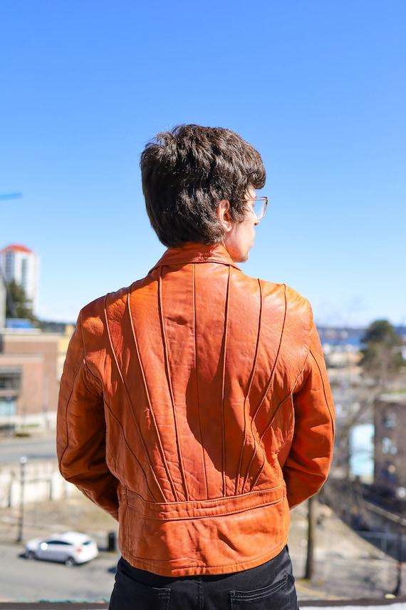1970s Burnt Orange Leather Men's Sunrise Jacket//… - image 9