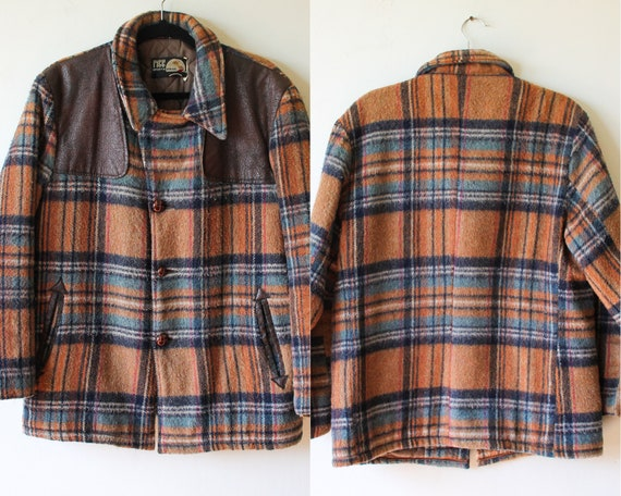 70s Men's Plaid Jacket LRG//Lumberjack Coat//Orang