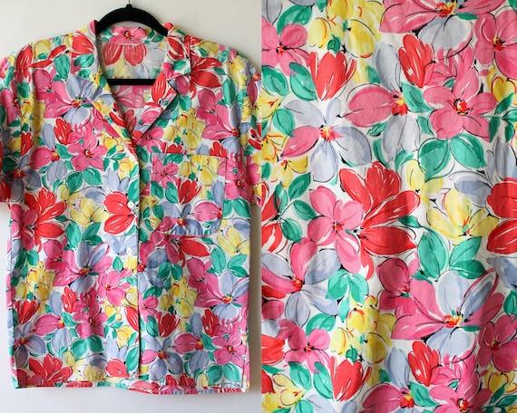 Flowers blouse 1990s 1980s vintage blue green white nature plant summer print short sleeve hipster shirt