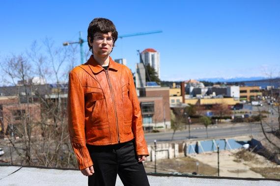 1970s Burnt Orange Leather Men's Sunrise Jacket//… - image 3