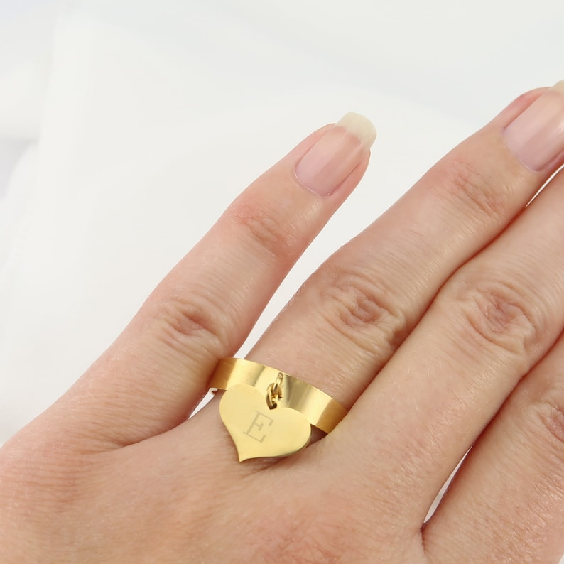 Stacking Ring Kids Initials Ring Ring Letter Heart Initials Ring Initials Ring Customizable Ring Ring for Girlfriend