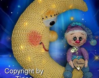 German!!! PDF pattern german crochet pattern amigurumi crochet Music box Moon, music box Moony with baby