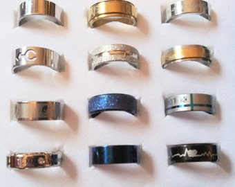 Mixed Fashion Rings Lusterous Eye Catching Handsome Free Shipping Sizes 7 to 8 3/4  others sizes available on other listings