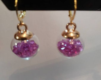 Mini Glass Bottle Earrings with Purple Beads Exquisitely Charming