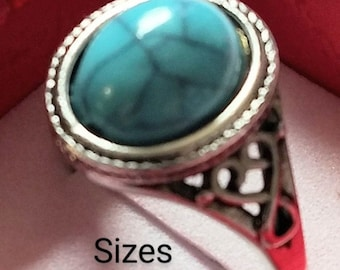 Turquoise Ring Natural Gemstone with 925 Sterling Silver Band Exquisite Fine Jewelry