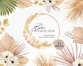 Watercolor Boho floral dried clipart, Modern Pampas grass clipart and Dried palm leaf clipart, Bohemian frames and pampas wreath PNG