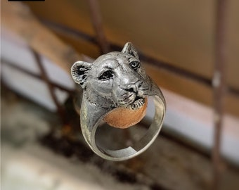 Lioness ring silver 925, totem animal jewelry, zodiac sign leo, astrology gift, horoscope leo