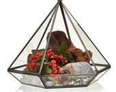 Large Glass Brass Geometric Terrarium - Diamond Shape For Hanging or Standing