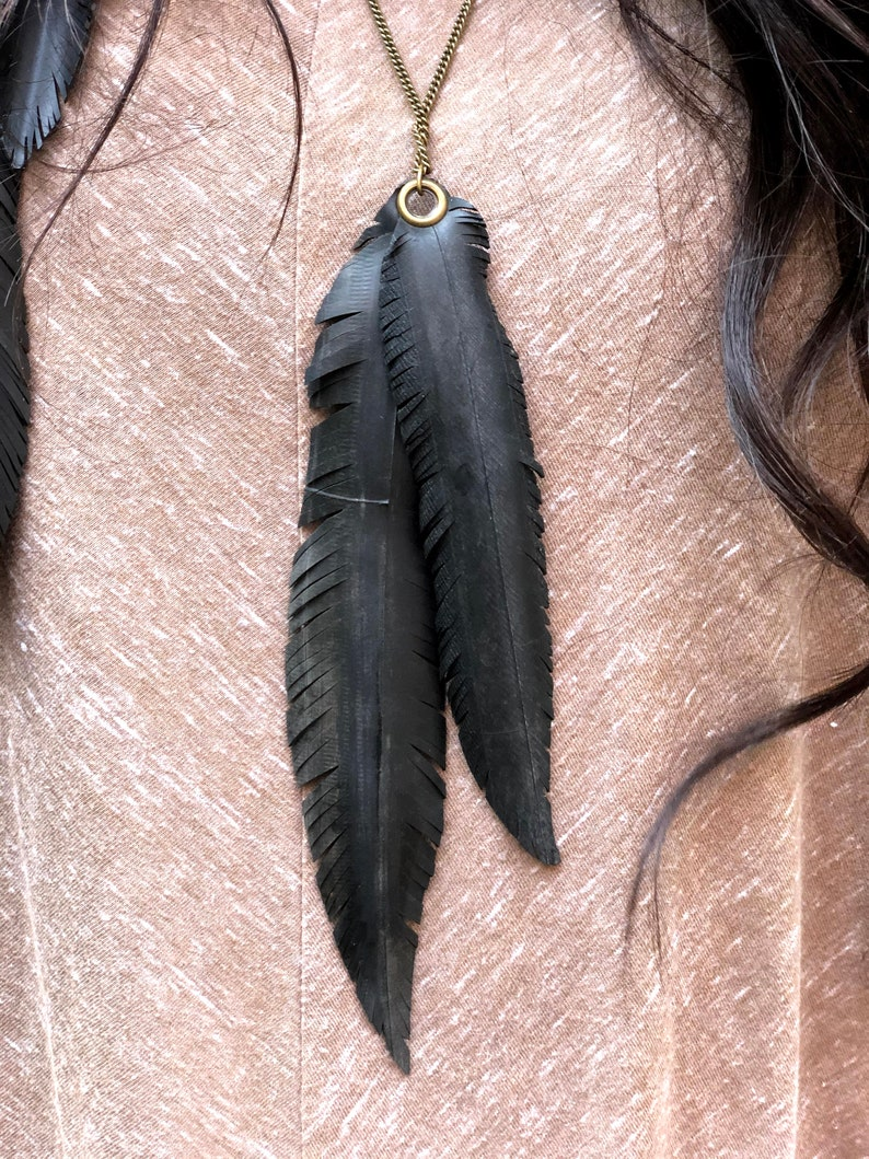 Cruelty Free Upcycled Eco-Friendly Necklace Vegan faux Feather