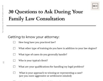 30 Questions to Ask During Your Family Law Consultation