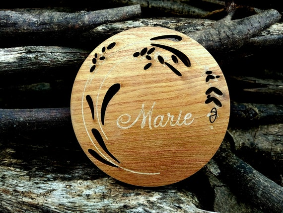 Personalized Coaster Set With Holder Wooden Custom Engraved Etsy