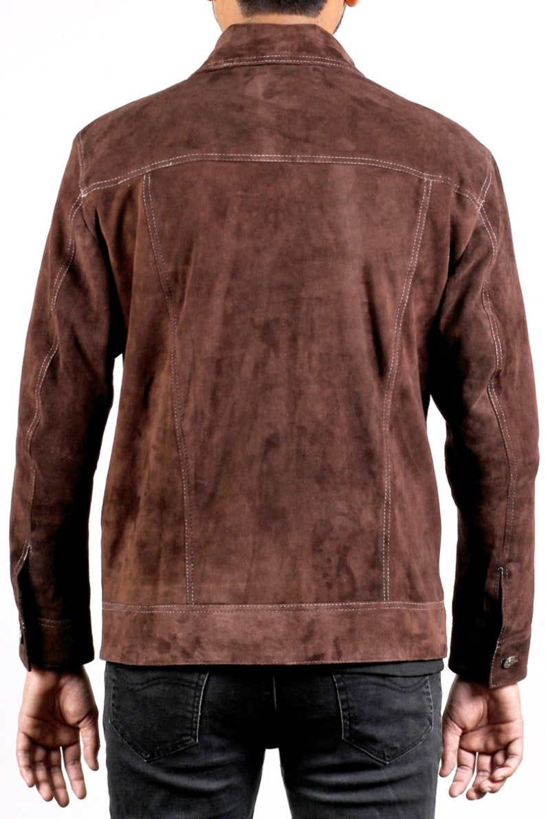 Men/'s Dark Brown Shirt Suede Leather Jacket
