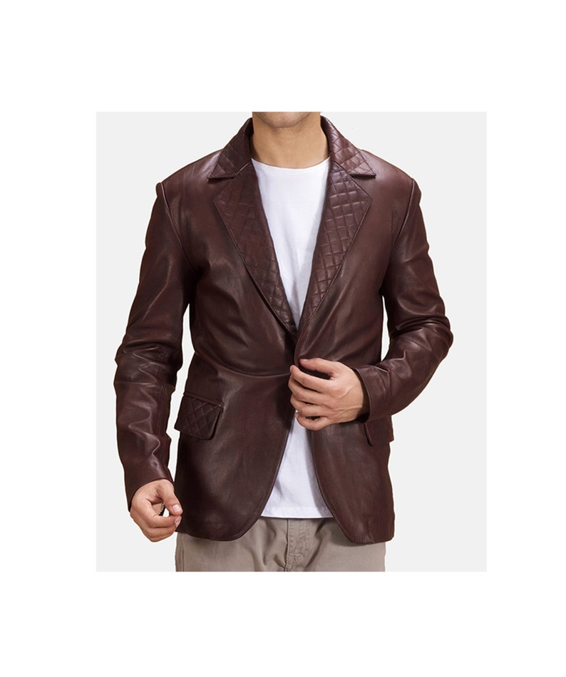 Men/'s Vintage Leather Blazer Coat