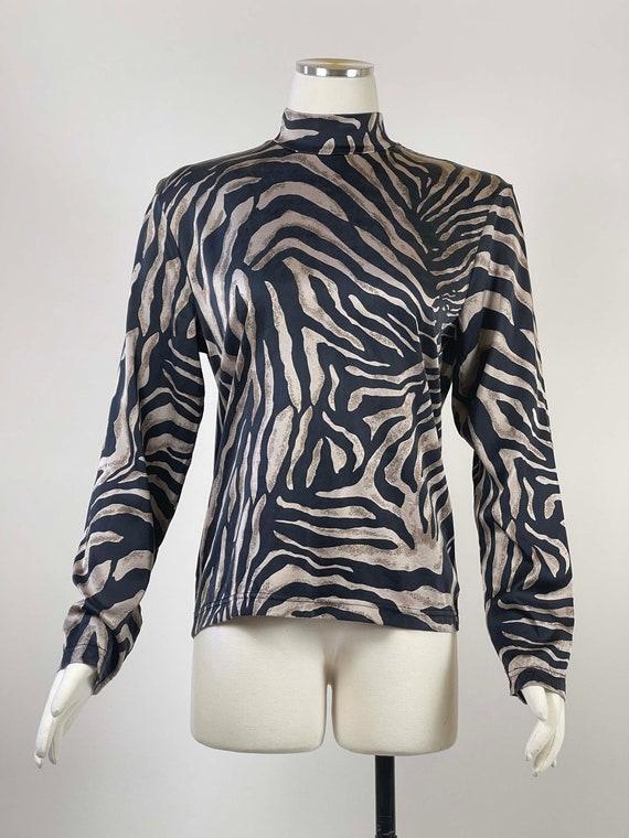 Vintage Stretchy Mock Turtleneck Black Cheetah Print Blouse