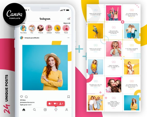 Instagram Puzzle Template, Canva Instagram Presets for Blogger, Social Media Posts Theme Template, IG Photo Collage Graphics Layout Content