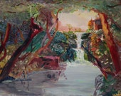 Vintage Landscape Waterfall, Oil Painting Original, Italy Painting, Artist Signed Painting, Italy