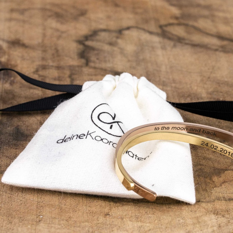 Partner coordinates bangle  gold ros\u00e9 gold silver black personalized jewelry custom engraving stainless steel place engraving