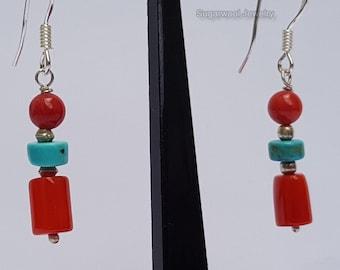 Beaded Red Coral Earrings, Dangle Turquoise Earrings, Sterling Silver Bamboo Coral Earrings, Red Coral Jewelry, Handmade Jewelry