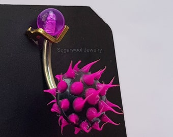 Hot Pink Spiky Round Belly Bar, Spike Silicon Ball Belly Button Ring 14GA, Belly Piercing, Belly Rings, Navel Piercing