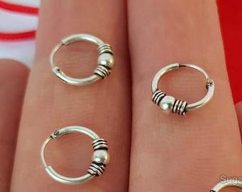 3 Pair Of Unisex Bali Ball Hoop Earrings, Small Hoop Earrings Set, Double Piercing Earring, Hand Made Hoops, Sterling Silver Round  Earrings