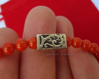 Round Bead Red Coral Bracelet, Sterling Silver Bracelet, Red Coral Jewelry, Handmade Jewelry, Bamboo Coral Braceelt