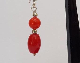 Beaded Red Coral Earrings, Dangle Earrings, Sterling Silver Bamboo Coral Earrings, Red Coral Jewelry, Handmade Jewelry