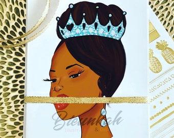 Affirmationsl Card African Print African American Art Single or Set by Bieunkah Illustrations Black Girl