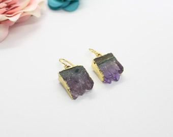 PG0981AZ10 Stalactite Pendant Amethyst Earrings Stalactite Earring Pair 24 Karat Gold Amethyst Earring Pair Amethyst Earring Supplies