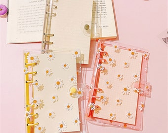 Daisy Flowers Binder Clear Glitter 6 Rings, Loose Leaf Notebooks Cover,Spiral Cover Binders Stationery Plastic A5 A6 School, Pink Yellow