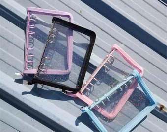 Notebook Binder Clear Glitter 6 Rings, Loose Leaf Notebooks Cover, Spiral Cover Binders Stationery