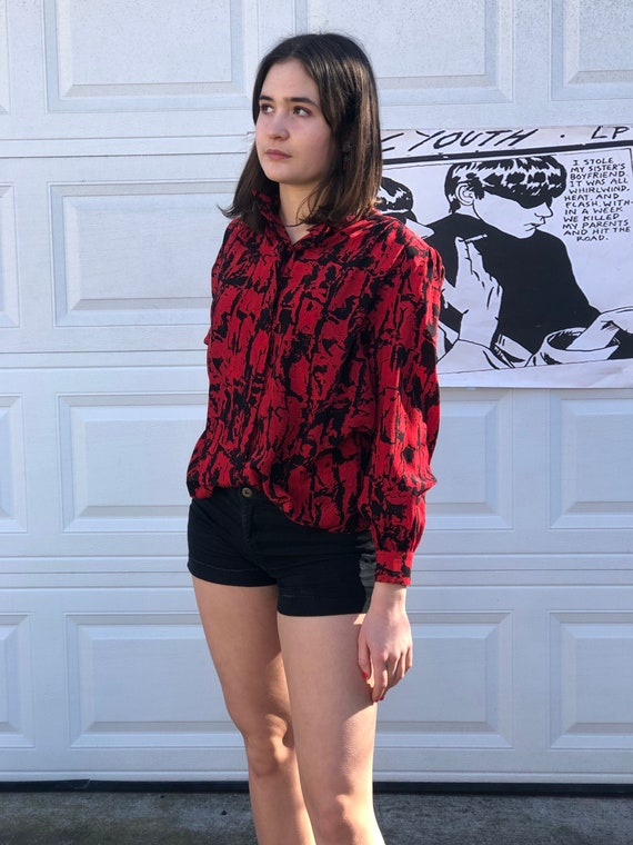 1980s red and black abstract silk blouse