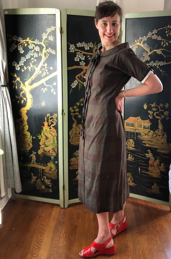 Vintage Olive and Brown Plaid Dress by Helen Whiti