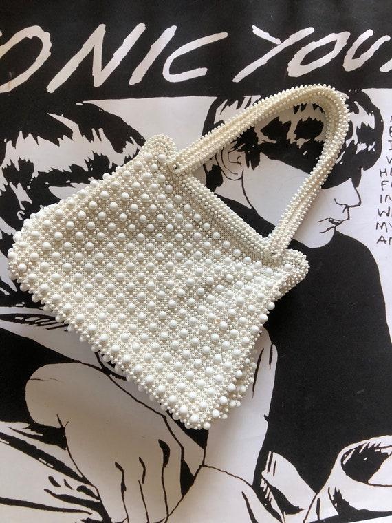 1960s white beaded handbag