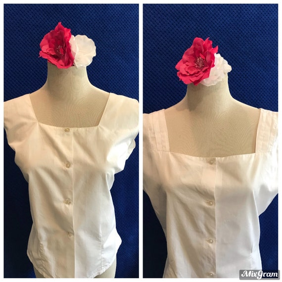 TWO Vintage 1940s 1950s sleeveless blouses shirts