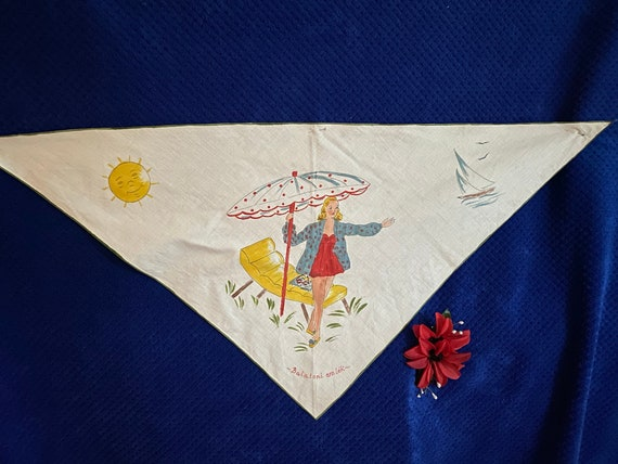 Vintage 1940s 1950s scarf, hand painted.